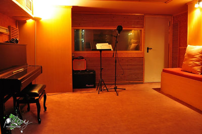 The main recording room of the studio. The name is Live room 1.