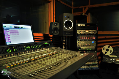 The control room of the studio.