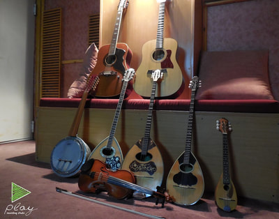 Plucked instruments, icluding guitars, bouzouki, violin etc.